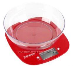 Весы кухонные с чашей Grunhelm KES-1PR, красные