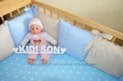 Цельные бортики-защита в детскую кроватку с имитацией отдельных подушечек
