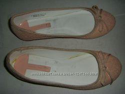 Блестящие балетки пудра, кожа, аккуратные коричневые р. 30 - 36