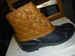 Утепленные резиновые, шикарные кожаные  сапожки  31 - 32  размер