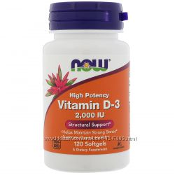 Витамин D3, Д3, Now Foods,  2000 МЕ, 120 капсул с IHerb