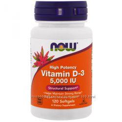 Витамин D3, Д3, Now Foods, 5000 МЕ, 120 капсул с IHerb