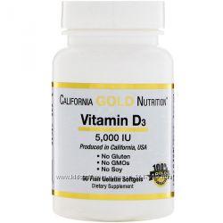 Витамин D3, Д3, 5000 МЕ, 90 капсул с IHerb, California Gold Nutrition