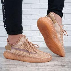 Кроссовки мужские текстильные Boost бежевые на шнуровке