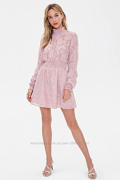 Forever 21 Sheer Floral Shirred Dress нарядное легкое платье шифон XS S