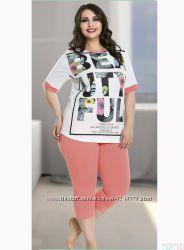 Домашняя одежда, футболка  шорты, 4XL, размер XXXXL, Lady Lingerie, пижама