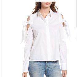 Женская белая блуза-топ BP. White Womens Size XS Tie Sleeve Button Down Col