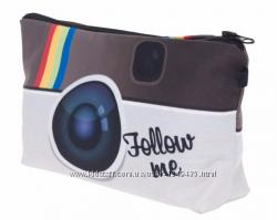 Вместительная косметичка женская с оригинальным дизайном Instagram