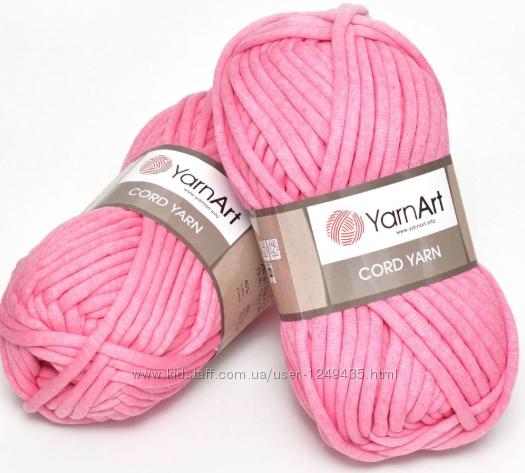 Трикотажный шнур YarnArt Cord Yarn Розовый, Белый, Черный, Голубой ярнарт