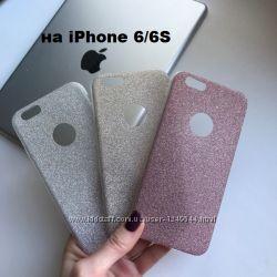 Силиконовый чехол с блестящим покрытием на iPhone 66S