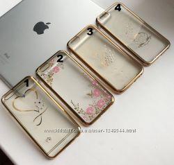 Чехол с цветным ободком и  узором на iPhone 66S