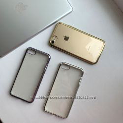 Силиконовый чехол с зеркальным ободком на iPhone  78, 78plus