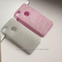 Силиконовый чехол с блестящим покрытием на iPhone 78