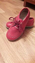 Новые кожаные красные туфли 17 см стелька