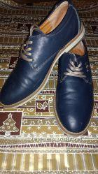 Синие мужские туфли на шнурке