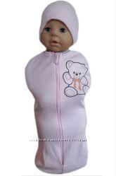 Пеленка кокон на молнии с шапочкой для новорожденных