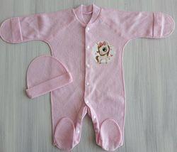 Ажурный комплект человечек и шапочка р.62 1-3 месяца для новорожденных