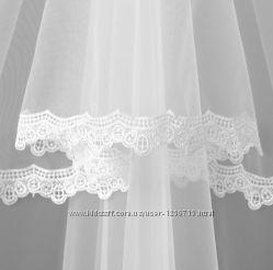 Фата свадебная белый айвори кружевная однослойная двуслойная