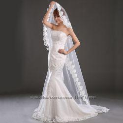 Фата белая свадебная 3 метра со шлейфом кружево