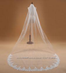 Длинная фата свадебная 3 метра со шлейфом кружевом белый айвори