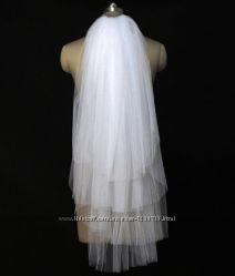 Четырехслойная свадебная фата слоновая кость белый