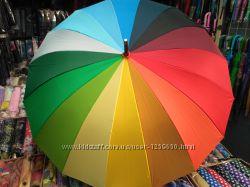 Зонт трость радуга 16 стальных спиц.
