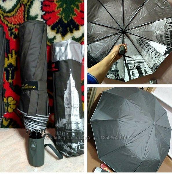 Зонт женский полуавтомат рисунок внутри, спицы-карбон. Антиветер.