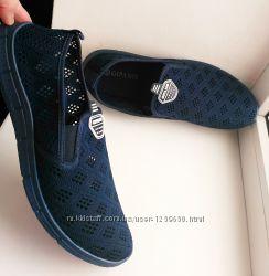 Мокасины 41-45р-р гибкие с перфорацией текстиль, чёрные, синие.