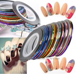 Скотч лента для дизайна ногтей 1мм разные цвета