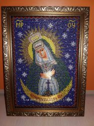 Очень красивая икона ручной работы Богородица Остробрамская