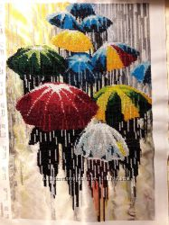 Вышивка чешским бисером - картина Зонтики Парасольки ф. А3