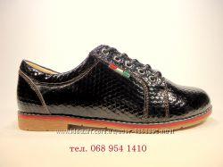 Женские черные лаковые туфли ботиночки оксфорды на шнурках. Размер 36-41.