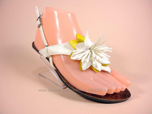 Босоножки-сандалии вьетнамки женские белые на низком ходу. Размеры 36-41.