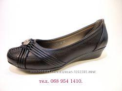 Туфли женские на танкетке, черные, комфортные и удобные. Размер 36-41.