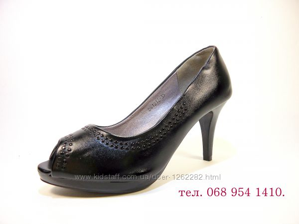 Туфли лодочки на каблуке шпильке с открытым носком, черные. Размер 35-40.