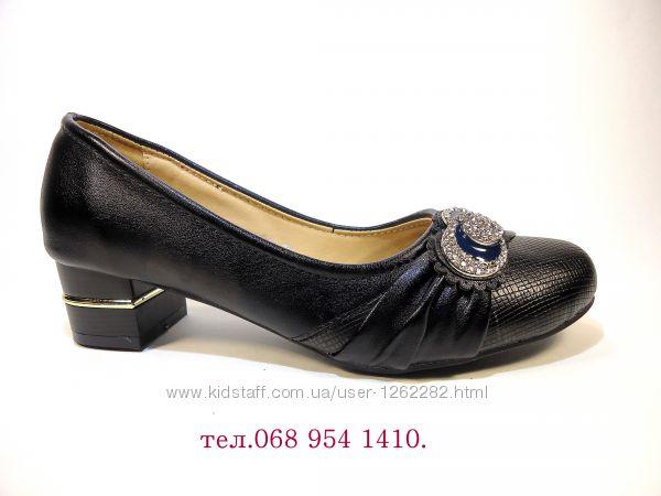 Туфли женские черные на устойчивом каблуке. Размер 36-41.