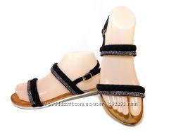 Босоножки сандалии женские замшевые, черные. Размер 36-41.