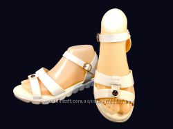 Босоножки сандалии женские, белые, лак, пенка. Размер 36-40.