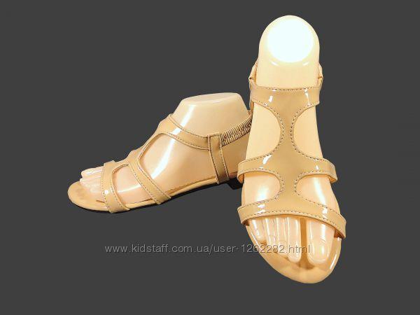 Босоножки сандалии женские, бежевые, лак, на резинке. Размер 36-40.