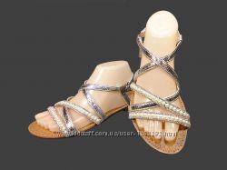 Босоножки сандалии, гладиаторы, римлянки, серебристые. Размер 36-41.