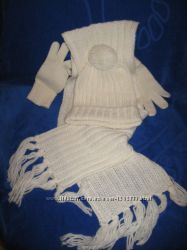 Фирменный комплект Alive шарф перчатки шапка р. 152-164 шерстьполиакрил