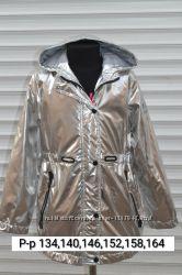Куртка-бочонок демисезонная. Серебро. Р-ры8-16 лет, 134-164. Венгрия