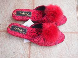 Тапки Інблу INBLU велюровые с натуральным мехом
