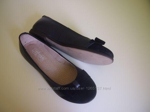 Туфли - балетки кожанные синие для девочки Мальвы 31-36 полномерки