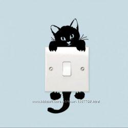 Наклейки кіт на стіну вимикач. Стікер. декор