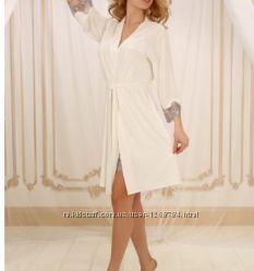 невероятно красивые халатик и ночная сорочка из натуральных материалов