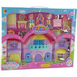 Дом с мебелью и куклами, сюжетно-ролевые игры с куклами