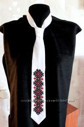 Галстук женский с вышивкой бисером, черно-красный