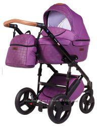 Коляска Bair LEO КОЖА фиолетовый плетение-фиолетовый Доставка бесплатная