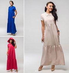 44-50, Летнее платье, лен. макси. женское платье. Жіноча довга сукня
